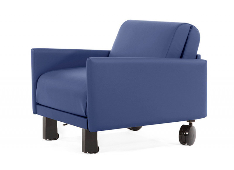 Fauteuil convertible lit Likoolis accompagnant, classé au feu M2, ROLLER 70 LARGE avec accoudoirs larges - bleu