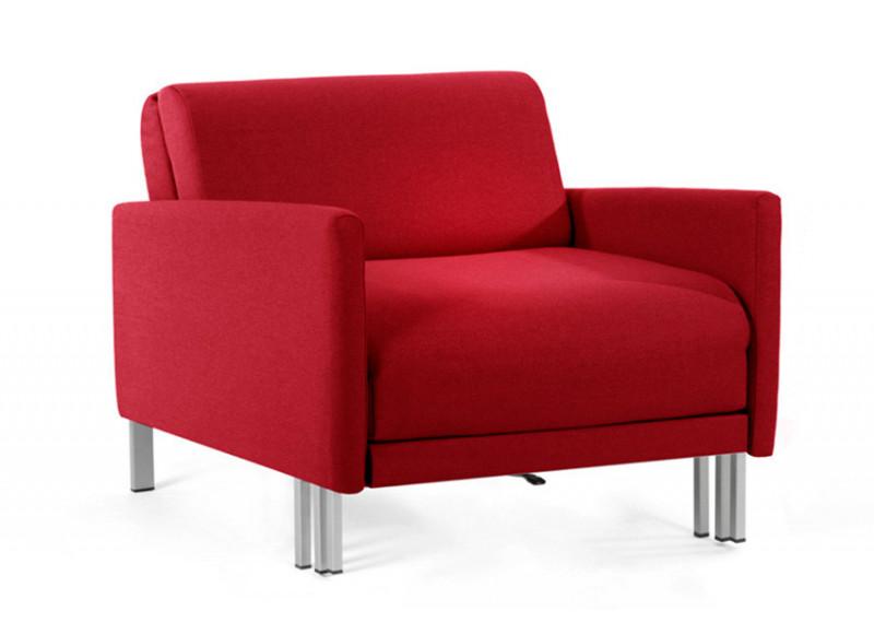 Fauteuil convertible lit Likoolis 1 Place BOSS 70 cm LARGE avec accoudoirs larges tissu rouge