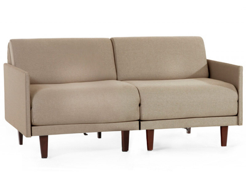 Canapé convertible lit Likoolis 2/3 places PACHA DUO 160 cm MEDIUM avec accoudoirs fins cuir tissu chiné marron - taupe