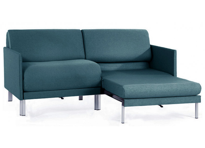 Canapé convertible lit Likoolis 2 places Design BOSS DUO 140 cm MEDIUM avec accoudoirs fins tissu aquamarine