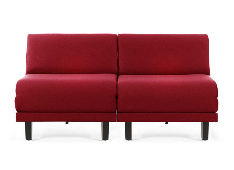 Canapé convertible lit Likoolis 2/3 Places ROLLER DUO 160 cm SMALL sans accoudoirs cuir artificiel - tissu red