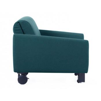 Fauteuil convertible lit Likoolis 1 Place ROLLER 80 LARGE avec accoudoirs larges tissu aquamarine