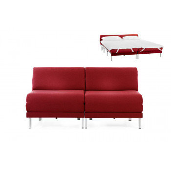 Canapé convertible lit Likoolis 2 places Design BOSS DUO 140 cm SMALL sans accoudoirs tissu rouge
