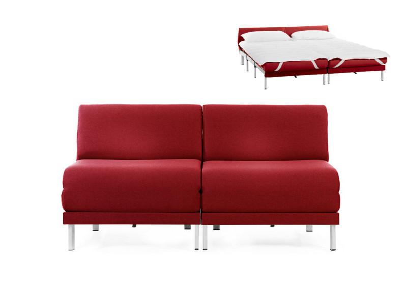 Canapé convertible lit Likoolis 2 places Design BOSS DUO 140 cm SMALL sans accoudoirs tissu rouge