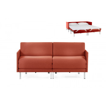 Canapé convertible lit Likoolis 2/3 places Design BOSS DUO 160 cm MEDIUM avec accoudoirs fins tissu orange