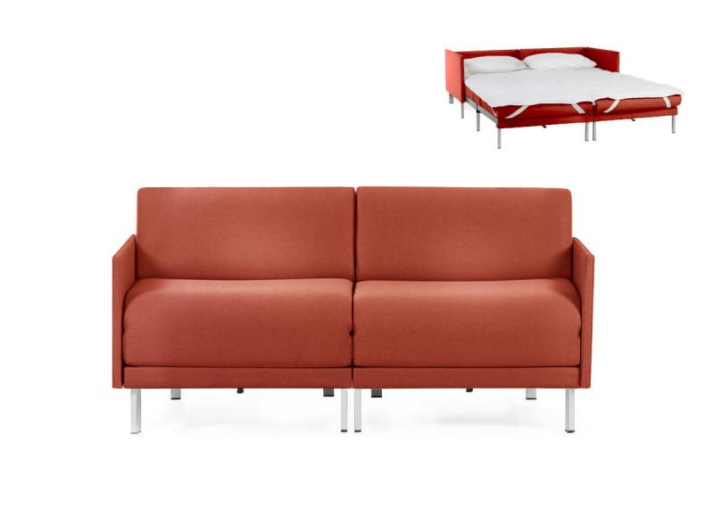 Canapé convertible lit Likoolis 2/3 places Design BOSS DUO 160 cm MEDIUM avec accoudoirs fins tissu orange