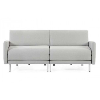 Canapé convertible lit Likoolis 2 places Design BOSS DUO 140 cm LARGE avec accoudoirs larges tissu light grey