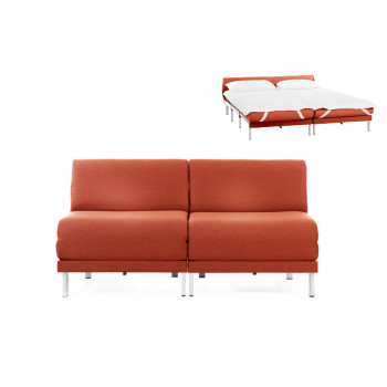 Canapé convertible lit Likoolis  2/3 places Design BOSS DUO 160 cm SMALL sans accoudoirs tissu orange