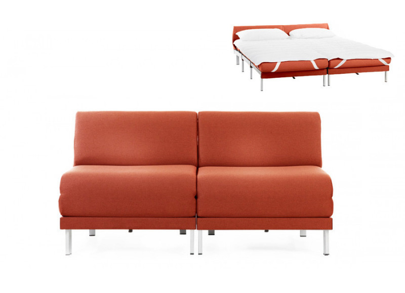 Canapé convertible lit Likoolis  2/3 places Design BOSS DUO 160 cm SMALL sans accoudoirs tissu orange