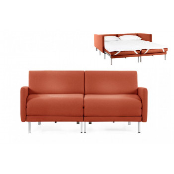 Canapé convertible lit Likoolis 2/3 places Design BOSS DUO 160 cm LARGE avec accoudoirs larges tissu orange