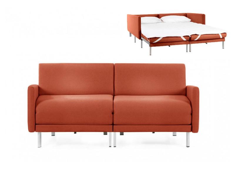 Canapé convertible lit Likoolis 2/3 places Design BOSS DUO 160 cm LARGE avec accoudoirs larges tissu orange