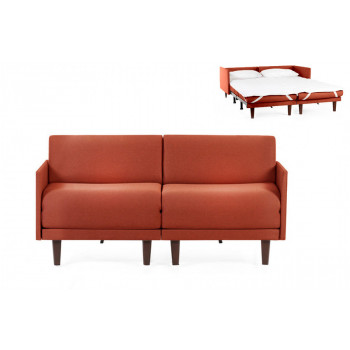 Canapé convertible lit Likoolis 2 places PACHA DUO 140 cm MEDIUM avec accoudoirs fins tissu orange