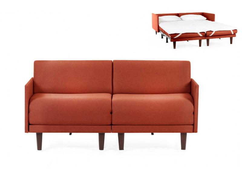 Canapé convertible lit Likoolis 2 places PACHA DUO 140 cm MEDIUM avec accoudoirs fins tissu orange