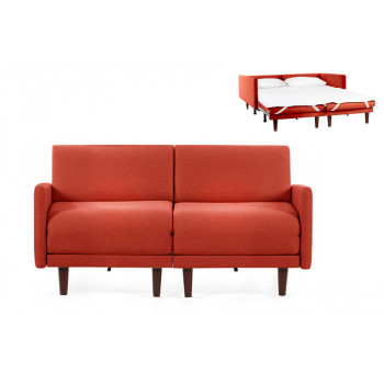 Canapé convertible lit Likoolis 2 places PACHA DUO 140 cm LARGE avec accoudoirs larges - Tissu orange