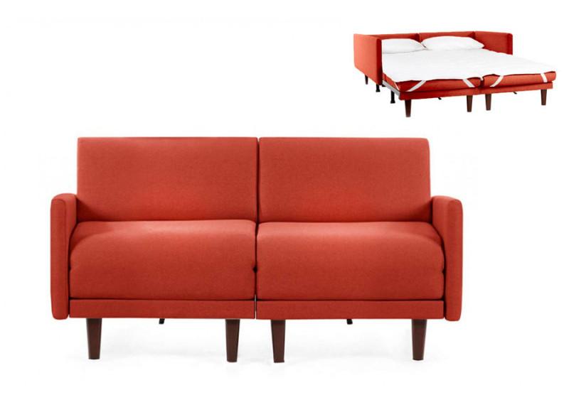 Canapé convertible lit Likoolis  2/3 places PACHA DUO 160 cm LARGE avec accoudoirs larges - Tissu orange