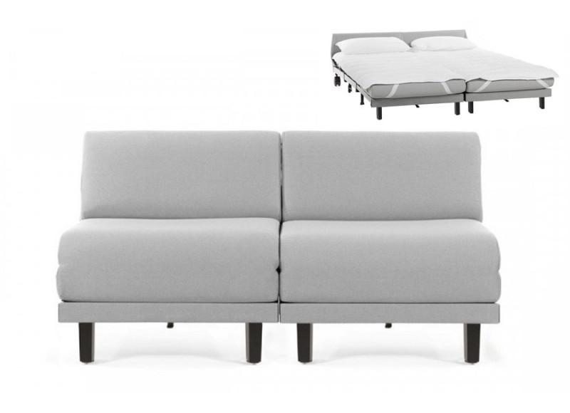 Canapé convertible lit Likoolis 2 Places ROLLER DUO 140 cm SMALL sans accoudoirs cuir artificiel - tissu gris clair