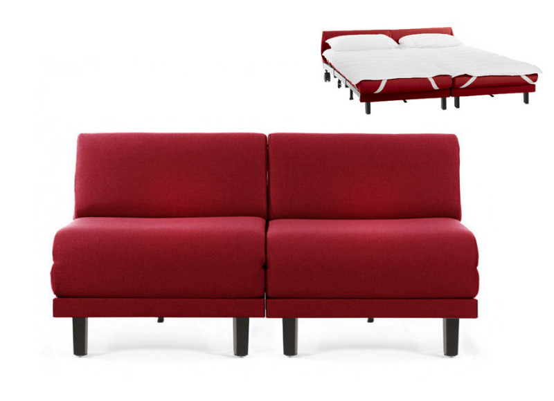 Canapé convertible lit Likoolis 2/3 Places ROLLER DUO 160 cm SMALL sans accoudoirs cuir artificiel - tissu rouge