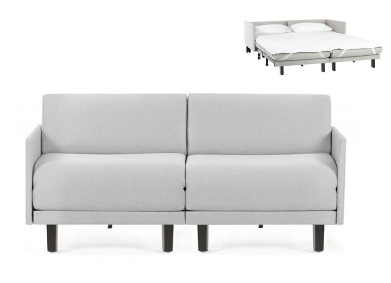 Canapé convertible lit Likoolis 2 Places ROLLER DUO 140 cm MEDIUM avec accoudoirs fins tissu gris clair