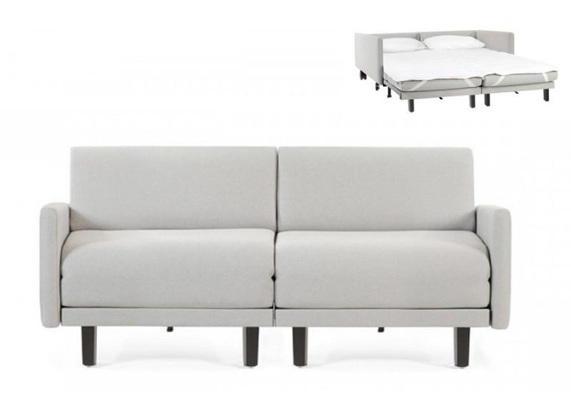 Canapé convertible lit Likoolis 2 Places ROLLER DUO 140 cm LARGE avec accoudoirs larges tissu gris clair