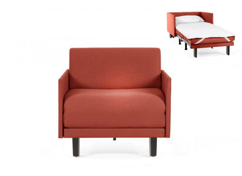 Fauteuil convertible lit Likoolis 1 Place ROLLER 80 MEDIUM avec accoudoirs fins tissu orange