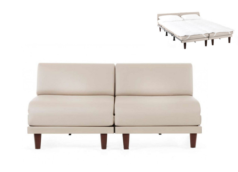 Canapé convertible lit  Likoolis 2 places PACHA DUO 160 cm SMALL sans accoudoirs cuir artificiel - cuir artificiel crema