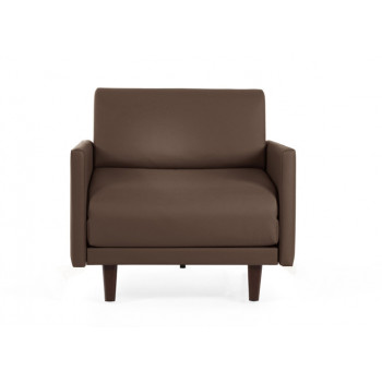 Fauteuil convertible lit 1 Place PACHA 80 cm LARGE avec accoudoirs larges cuir artificiel marron