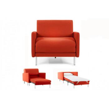 Fauteuil convertible lit Likoolis 1 Place BOSS 80 cm LARGE avec accoudoirs larges tissu orange