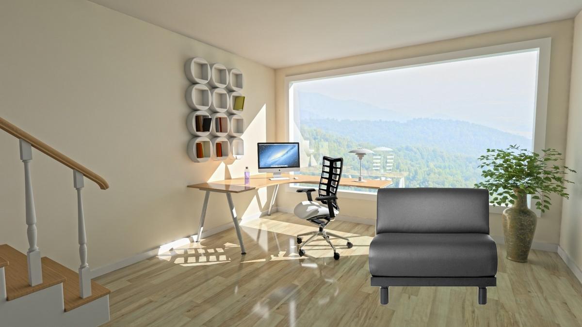 fauteuil lit likoolis noir dans bureau